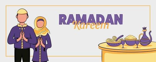 bannière de ramadan kareem avec illustration islamique dessinée à la main