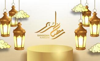 ramadan kareem fond de luxe élégant avec lanterne arabe 3d vecteur