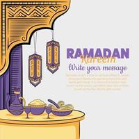 illustration dessinée à la main de voeux de ramadan kareem ou eid al fitr vecteur