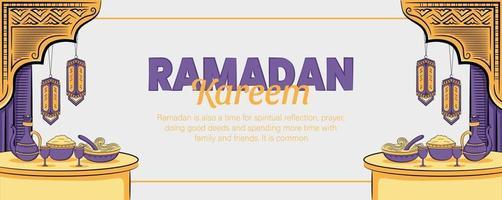 bannière de ramadan kareem avec illustration islamique dessinée à la main vecteur