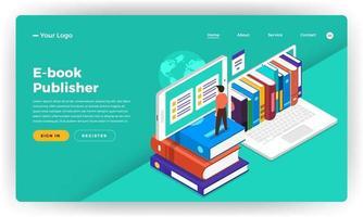 maquette de page de destination de site Web pour la publication de livres électroniques vecteur