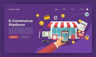 maquette de page de destination de site Web pour le commerce électronique vecteur