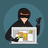 Cyber hacker volant des données sur un appareil Internet vecteur