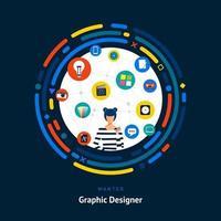 compétences en conception graphique recherchées vecteur