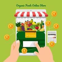 boutique en ligne de fruits et légumes vecteur