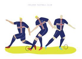 Joueur de football coupe du monde Irlande Falt Vector Illustration de caractère
