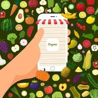nourriture biologique saine vecteur
