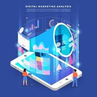 travail d'équipe marketing numérique isométrique vecteur
