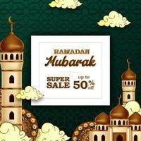 ramadan mubarak vente offre bannière luxe élégant avec décoration mosquée et lanterne vecteur