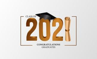 remise des diplômes 2021 avec illustration de casquette de diplômé 3d