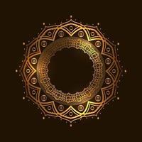 cercle doré rond motif mandala mosquée arabe, luxe et élégant vecteur
