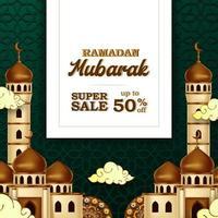ramadan mubarak vente offre bannière luxe élégant avec mosquée et décoration de mandala de lanterne vecteur
