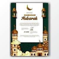 affiche d'invitation de ramadan mubarak iftar élégante avec décoration de mosquée et de lanterne vecteur