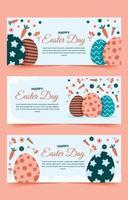 oeufs de pâques, collection de bannières florales et carottes