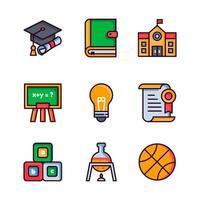 collection d'icônes d'éducation dessin animé plat vecteur