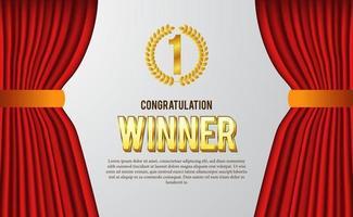 Félicitations pour le certificat de gagnant pour le meilleur du concours, du sport, du jeu, avec couronne de laurier emblème doré et rideau rouge pour un style élégant de luxe vecteur