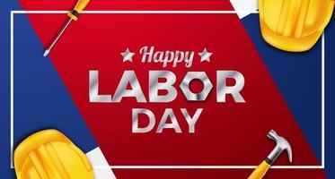 Bannière d'affiche de fête du travail heureux avec casque de sécurité jaune 3d, clé, marteau, tournevis avec fond bleu et rouge