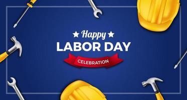 Bannière d'affiche de fête du travail heureux avec casque de sécurité jaune 3d, clé, marteau, tournevis sur fond bleu