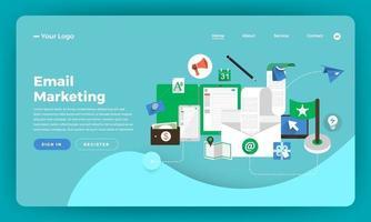 maquette de page de destination de site Web pour le marketing par courrier électronique vecteur