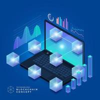 concept de blockchain et de crypto-monnaie vecteur