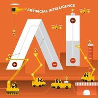 équipe de construction construisant la phrase intelligence artificielle vecteur