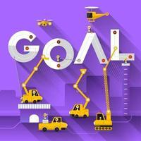 équipe de construction construisant le mot objectif vecteur