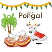 illustration vectorielle d & # 39; un fond pour joyeux pongal fête des récoltes de vacances du tamil nadu en inde du sud. vecteur