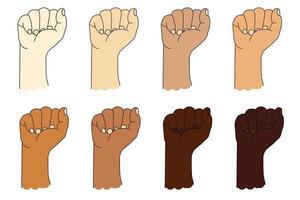 collection de mains ethniques humaines avec une couleur de peau différente. geste de la main. poing levé ou poing fermé. illustration vectorielle isolée sur blanc vecteur