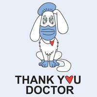 médecin de chien blanc en vêtements médicaux et protection - masque, gants, chapeau et endoscope sur fond bleu. vecteur, dessin de contour. la lutte contre les virus et covid-19 et merci aux médecins vecteur