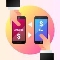 Paiements mobiles avec Illustration Smartphone vecteur