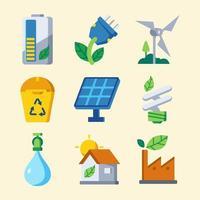collection d'icônes de technologie verte vecteur