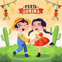 célébration du festival festa junina vecteur