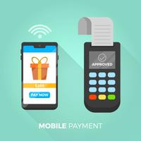 Plat payer avec téléphone en Illustration vectorielle de fond moderne vecteur