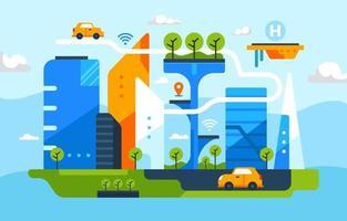 concept de ville intelligente au design plat vecteur