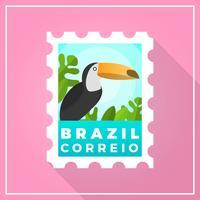 Timbre-poste plat moderne Brésil avec illustration vectorielle de fond dégradé vecteur
