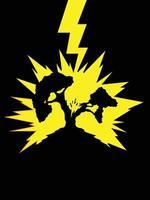 tonnerre, foudre, grève, arbre, silhouette, illustration, vecteur