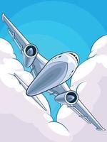 avion volant avion de ligne commercial avion jumbo jet cartoon vecteur