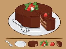 gâteau éponge au chocolat forêt noire dessin animé pâtisserie illustration vectorielle vecteur