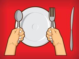 mains tenant cuillère fourchette couteau diner restauran symbole dessin animé vecteur