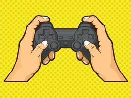 Main tenant le contrôleur de jeu de console jouant dessin dessin animé de symbole vecteur
