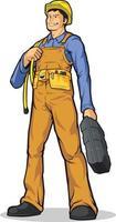 Ouvrier du bâtiment industriel tenant la boîte à outils dessin vectoriel de dessin animé
