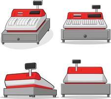 Caissier machine caisse enregistreuse tiroir boîte dessin illustration dessin vecteur