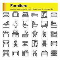 jeu d'icônes de contour de meubles vecteur