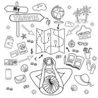 mon voyage. doodle ensemble de griffonnages linéaires de vecteur pour voyager avec une fille assise. rêve de la mer et de la plage