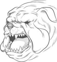 Croquis tête de bouledogue en colère aboiements doodle illustration dessin vectoriel