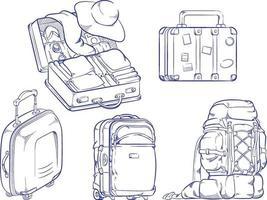 Croquis de vacances voyage valise sac doodle contour dessin vectoriel