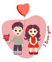 un garçon avec un bouquet de fleurs et un ballon et une jolie fille sur fond de coeur. texte - je t'aime. vecteur