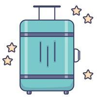 bagages de voyage. valise lumineuse à roulettes pour les voyages, le tourisme et les vacances. vecteur