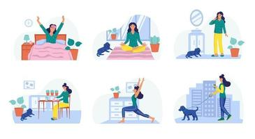 routine matinale, une jeune femme se réveille, médite, se brosse les dents, prend son petit déjeuner, fait du yoga, promène le chien. le concept de la vie quotidienne, des loisirs quotidiens et des activités professionnelles. illustration vectorielle