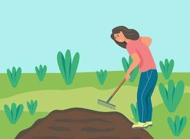 travaux de jardinage. une jeune femme travaille au jardin, ratisse le sol. illustration vectorielle plane. vecteur